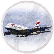 British Airways Airbus A380 Art Round Beach Towel