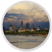 Cleveland Skyline From A Distant Park Round Beach Towel