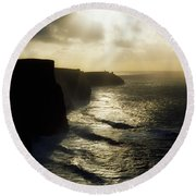 Cliffs Of Moher, Co Clare, Ireland Round Beach Towel