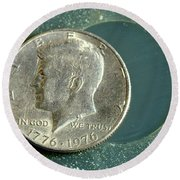 Coin Containing Silver Inhibits Round Beach Towel
