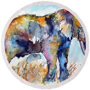 Colorful Cute Elephant Round Beach Towel