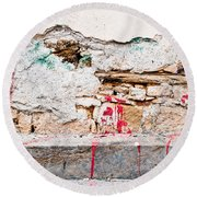Damaged Wall Round Beach Towel