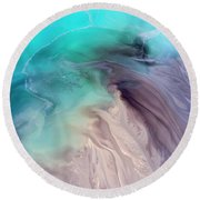 Degraded Landscape In Poland. Destroyed Land. View From Above.  Round Beach Towel