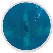 Diver Explores The Wreck Round Beach Towel