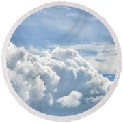 Dramatic Cumulus Clouds With High Level Cirrocumulus Clouds For  Round Beach Towel