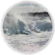 Frozen Niagara Falls Round Beach Towel