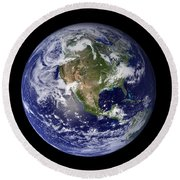 Full Earth Showing North America Round Beach Towel by Stocktrek Images
