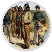 Geronimo 1829-1909.  To License For Professional Use Visit Granger.com Round Beach Towel