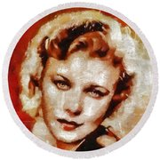Ginger Rogers Hollywood Actress And Dancer Round Beach Towel
