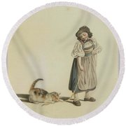 Girl With Cat Round Beach Towel