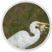 Great Egret With Fish Round Beach Towel