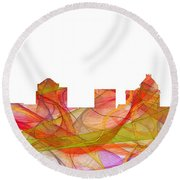 Greensboro North Carolina Skyline Round Beach Towel