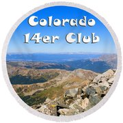 Hikers And Scenery On Mount Yale Colorado Round Beach Towel