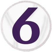 6 In Purple Typewriter Style Round Beach Towel