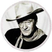John Wayne, Vintage Actor By Js Round Beach Towel