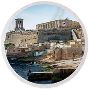 La Valletta Old Town Fortifications Architecture Scenic View In  Round Beach Towel