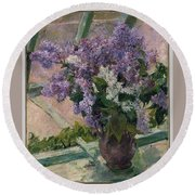 Lilacs In A Window Round Beach Towel