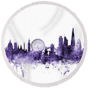London England Skyline Round Beach Towel