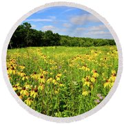 Marengo Ridge Wildflowers Round Beach Towel