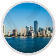 Miami Florida City Skyline Morning With Blue Sky Round Beach Towel