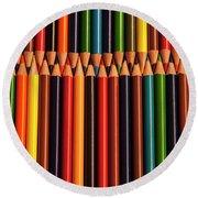 Multicolored Pencils  Round Beach Towel