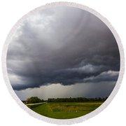 Non Severe Nebraska Thunderstorms Round Beach Towel