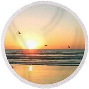 Ocean Sunrise Sunset Round Beach Towel