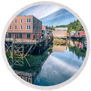 Old Historic Town Of Ketchikan Alaska Downtown Round Beach Towel