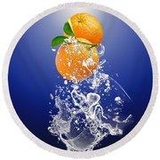 Orange Splash Round Beach Towel
