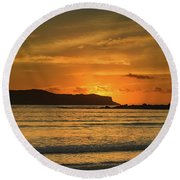 Orange Sunrise Seascape Round Beach Towel