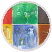 6 Panes Of Existence Round Beach Towel