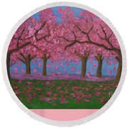 Pink Garden, Oil Painting Round Beach Towel