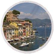 Portofino In The Italian Riviera In Liguria Italy Round Beach Towel