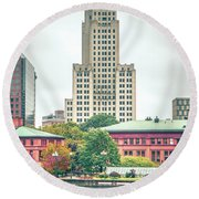 Providence Rhode Island City Skyline In October 2017 Round Beach Towel