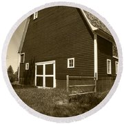 Barn And Wild Flowers Sepia Round Beach Towel