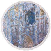 Rouen Cathedral, West Facade Round Beach Towel