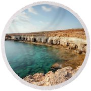 Sea Caves Ayia Napa - Cyprus Round Beach Towel