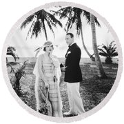 Silent Still: Man & Woman Round Beach Towel