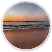 Sunrise Beach Seascape Round Beach Towel