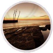 Sunset At Basanija Round Beach Towel