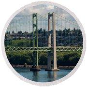 Tacoma Narrows Bridge Round Beach Towel
