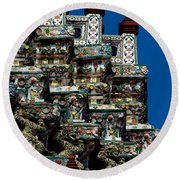 Temple Detail In Bangkok Thialand Round Beach Towel