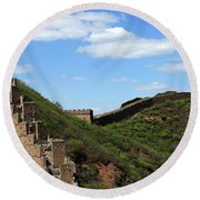 The Great Wall Of China Near Jinshanling Village, Beijing Round Beach Towel