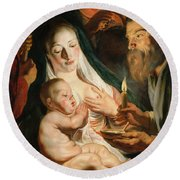 The Holy Family With Shepherds Round Beach Towel