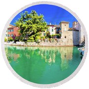 Town Of Sirmione Entrance Walls View Round Beach Towel