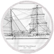 U.s. Coast Guard Cutter Northland Round Beach Towel