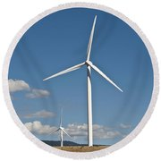 Wind Turbine Farm Round Beach Towel