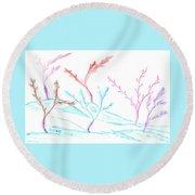 6 Winter Trees Round Beach Towel