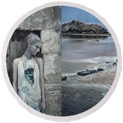 Woman In Ash And Blue Body Paint Round Beach Towel