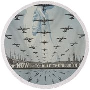 World War II Advertisement Round Beach Towel